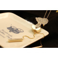 Cute Shiny Stones Animal Pendant Necklace Gold Long Necklace
