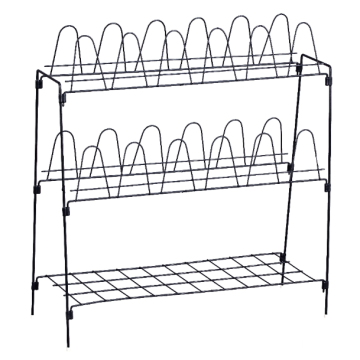 Three-layer metal shoe rack with shoe support