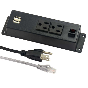 US Dual Power Outlets With Internet Ports&USB Stockets
