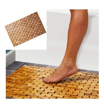 Teak Wood Bath Mat Feet Shower Floor Natural Bamboo Non Slip Large 50x70cm