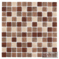 3D Square Brown Printing Glass Mosaics