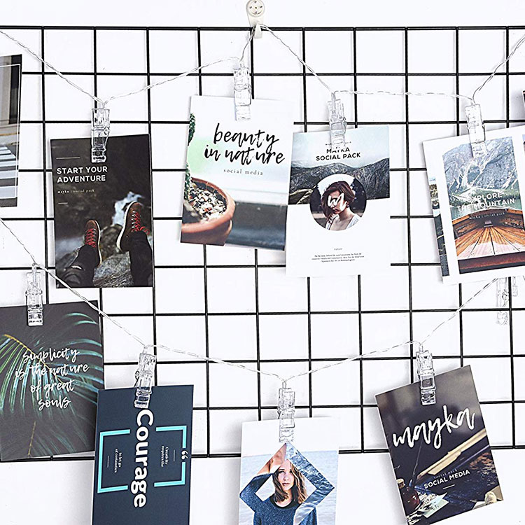 metal photo clips string lights