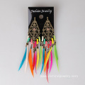 Rainbow Feather Earrings For Kids Metal Charm Ear Studs