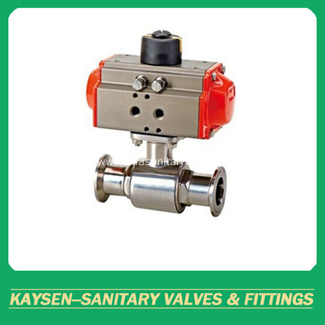 Sanitary pneumatic direct way ball valves clamped end