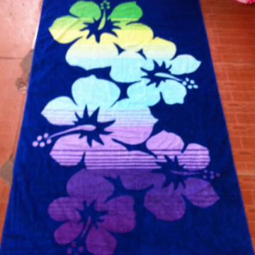 reactive dye printed beach towel with pocket