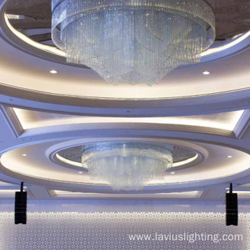 Luxury crystal led big round ceiling chandelier light