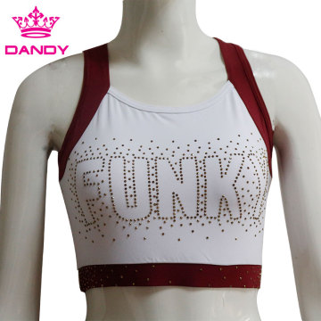 White cheerleading practice uniforms with rhinestones