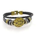 Custom mens leather zodiac bracelets engraved