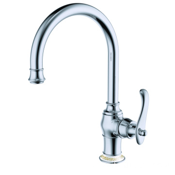Brass single lever kitchen mixer faucet tap polished