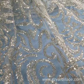 I-Vantage Grey Sequin Embroidery Tulle Lace