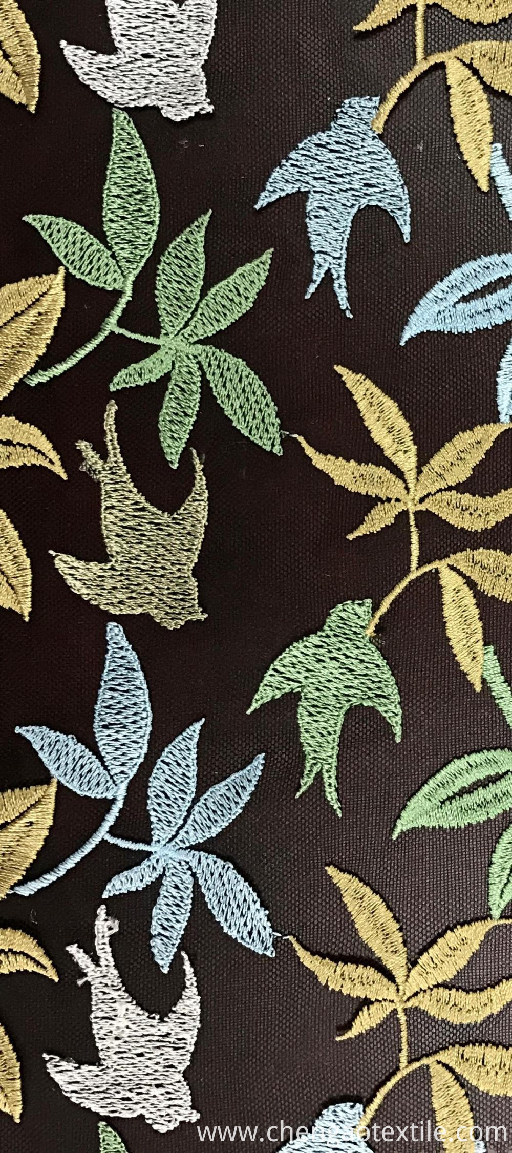 Leaves and birds Mesh Embroider Fabric
