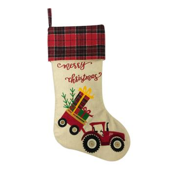 Hessian embroidery Christmas stocking