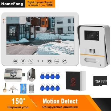HomeFong Video Door Phone Wired Video Intercom with Lock 10 inch Monitor 150° Wide Angle Doorbell Home Access Control System Kit