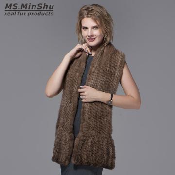 Ms.MinShu Natural Mink Fur Scarf Hand Knitted Long Mink Fur Scarf Woman Winter Scarf Wrap Genuine Mink Fur Shawl Female