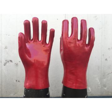 Red PVC gloves smooth finish interlock liner 12""