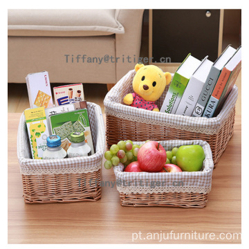 popular willow wicker basket rectangular storage basket with lining