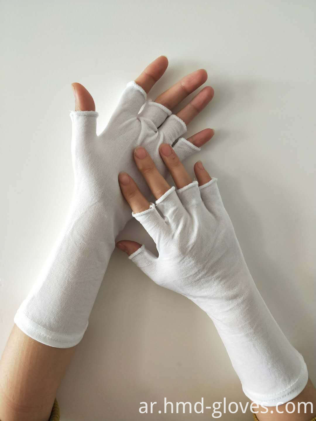 White Nylon Half Finger Gloves