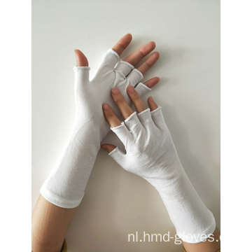 White Cotton Parade Inspection Work Half vinger handschoenen