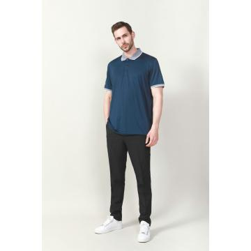 MEN'S PLAIN DYED RIB COLLAR GOLFER