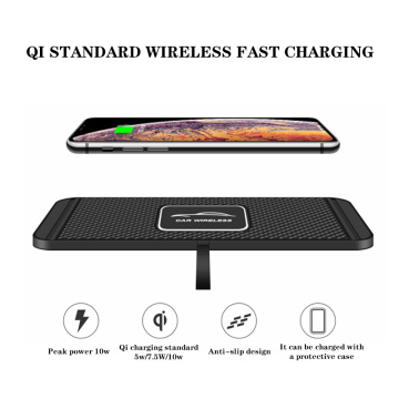 10W Fast Charging Qi Wireless Charger Dock Station Pad For iPhone Samsung 2in1 Non-slip Silicone Mat Car Dashboard Holder Stand