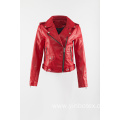 Red shine pu moto jacket