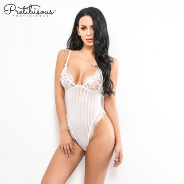 Sexy vertical Striped Bodysuit for Young ladies