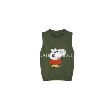 Boy's Knitted Jacquard Peggy Crew Neck Vest