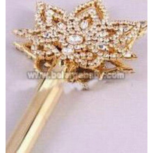Gold Rhinestone Star Pageant Crown Scepter For Queen
