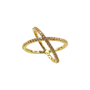 Gold Plated X Style Crossover Engagement Ring