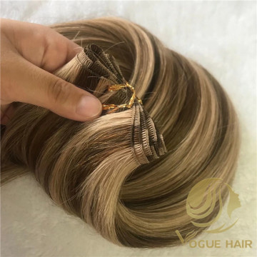 Piano 4/12 remy hand tied weft hair extensions