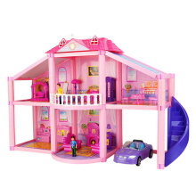 Doll House With Miniature Furniture Car Garage DIY 3D Miniature Silvanian Family Dollhouse Toys For Children