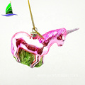 Fashion Christmas Hand Blown Glass Unicorn Animal Ornaments