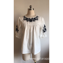 Lady's cotton voile embroidered blouse