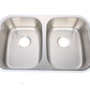 Supply overflow double bowl stainless steel sink