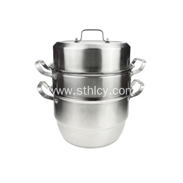 3-Layer Stainless Steel Steamer Cooking Pot