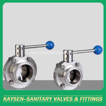 Sanitary butterfly type ball valves welded end