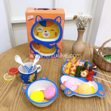 Cute Cat Baby Bamboo 5 PCS Tableware Set