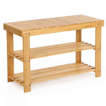 Natural Bamboo Shoe Rack Bench 2 Tier Shoe Organizer Entryway Seat Storage Shelf Hallway Furniture(Q12-4)