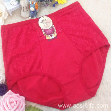 2016 OEM China new red elegant pocket underwear lace jacquard plus size panty fat woman briefs 665