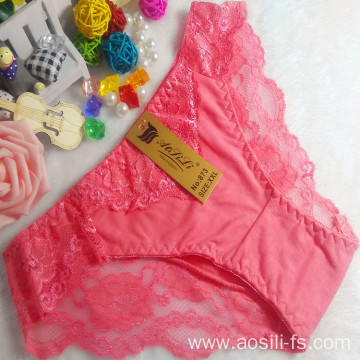OEM wholesale cheap watermelon red sexy comfortable lace cotton high level fancy underwear 873