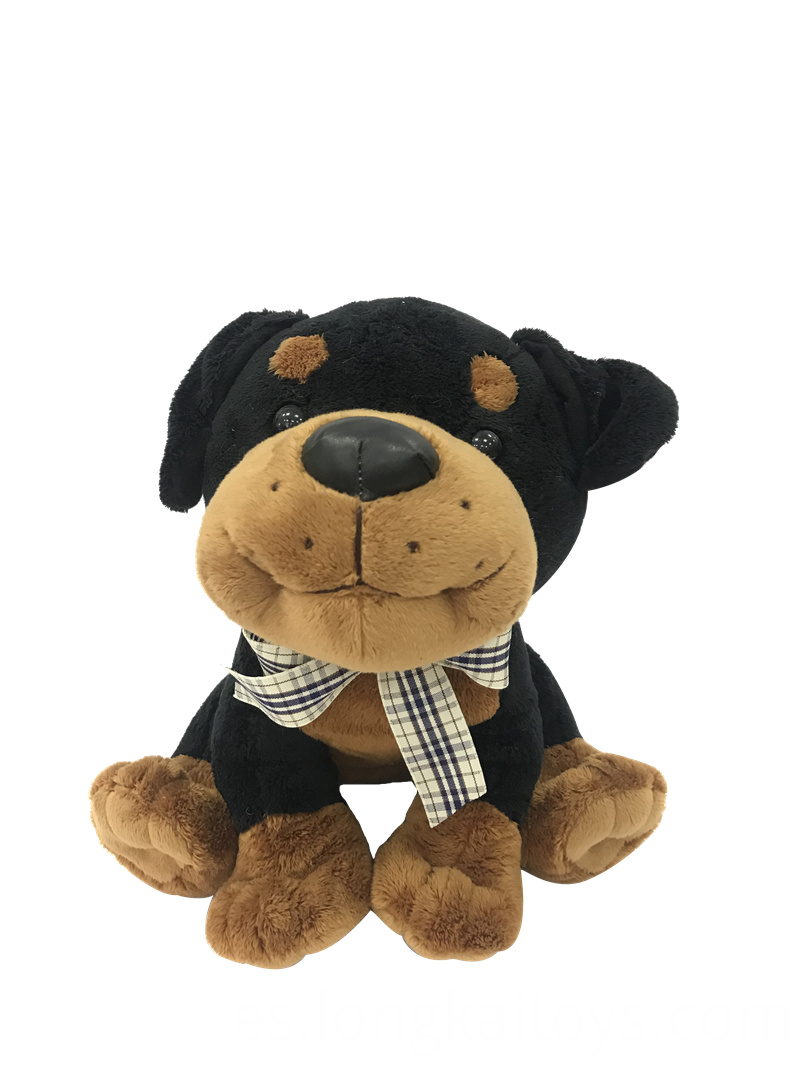 Stuffed Dog Black And Brown Color