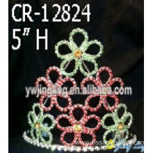 Colored Rhinestone Flower Pageant Crowns Wholesale