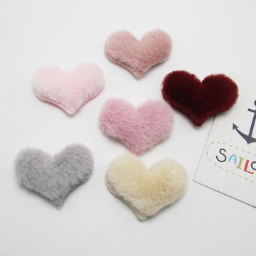 Padded heart chenille embroidery Patches Clothing