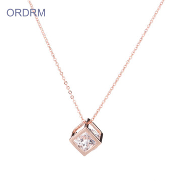 Rose Gold Mom Cage Pendant Necklace With Birthstones
