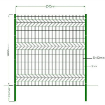 Galvanized 3D welded wire mesh decorative garden fence