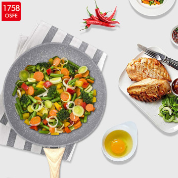 Palm Restaurant Marble Coating Stir Fry Pan