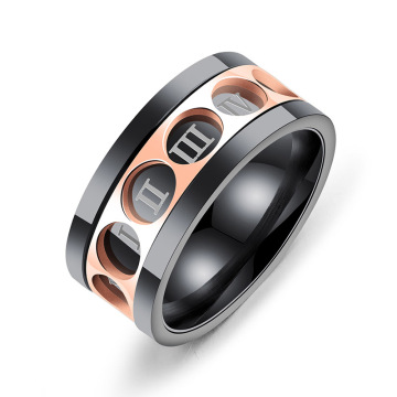 Stainless steel mens roman numeral spinner rings