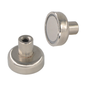 Round Base Pot Magnet Inner Thread Rod Type