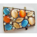 Alloy Shoe Buckle with Rhinestone & Opal
