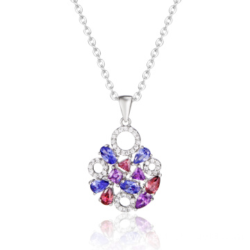 Elegant Fashion Round Pendant with Colorful CZ